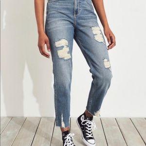 Hollister Distressed Straight Leg Light Wash Jeans